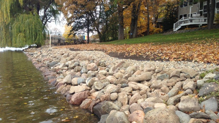 lakeshore landscaping with riprap stones