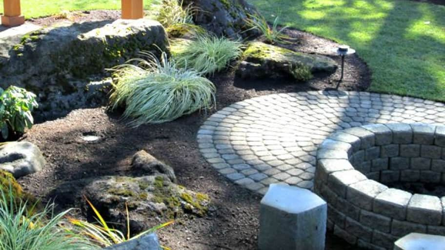 pavers and plants in a yard