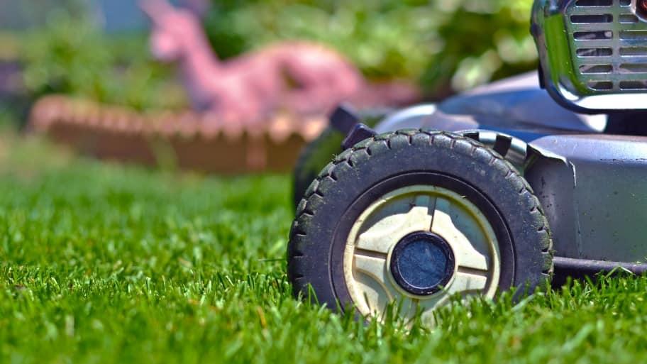 close up shot of a lawn mower wheel