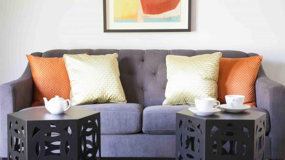 living room couch and end tables