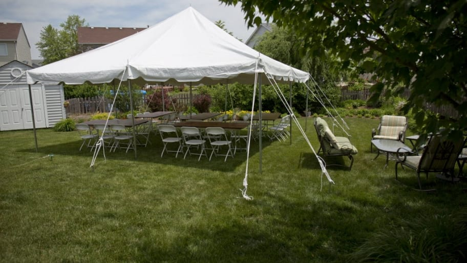 white tent, party, backyard party