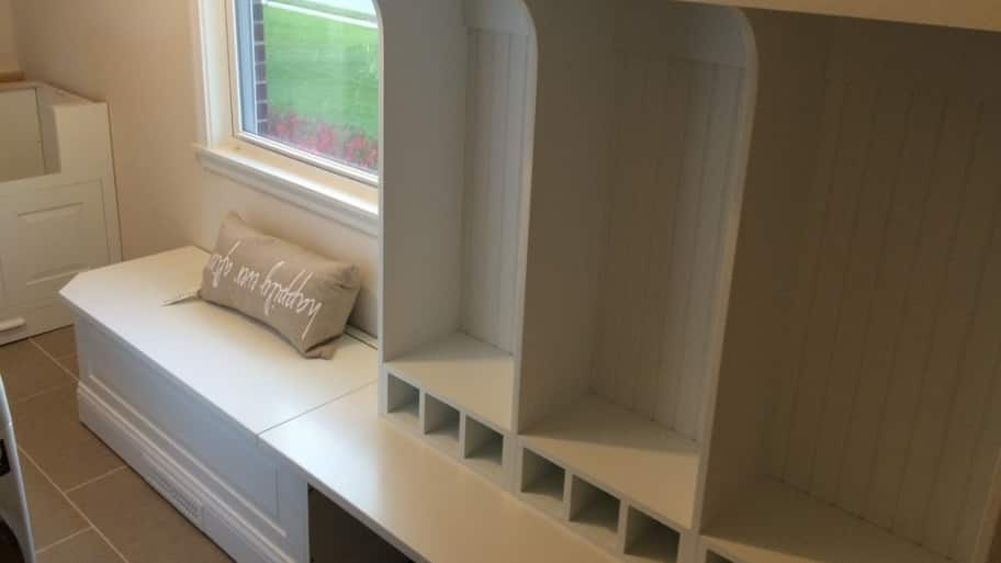 white mudroom cabinets