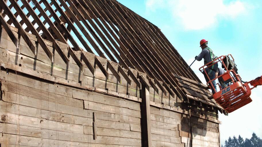 A barn deconstruction in Portland, Oregon