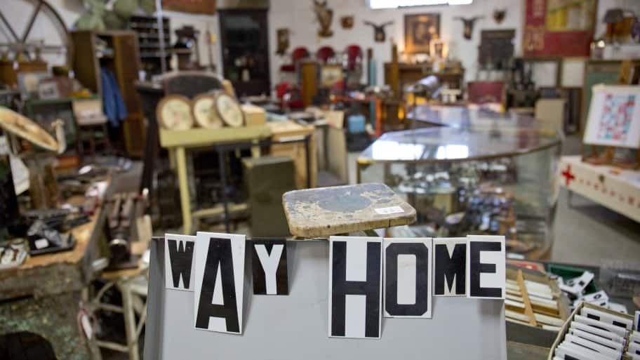cluttered salvage antique shop
