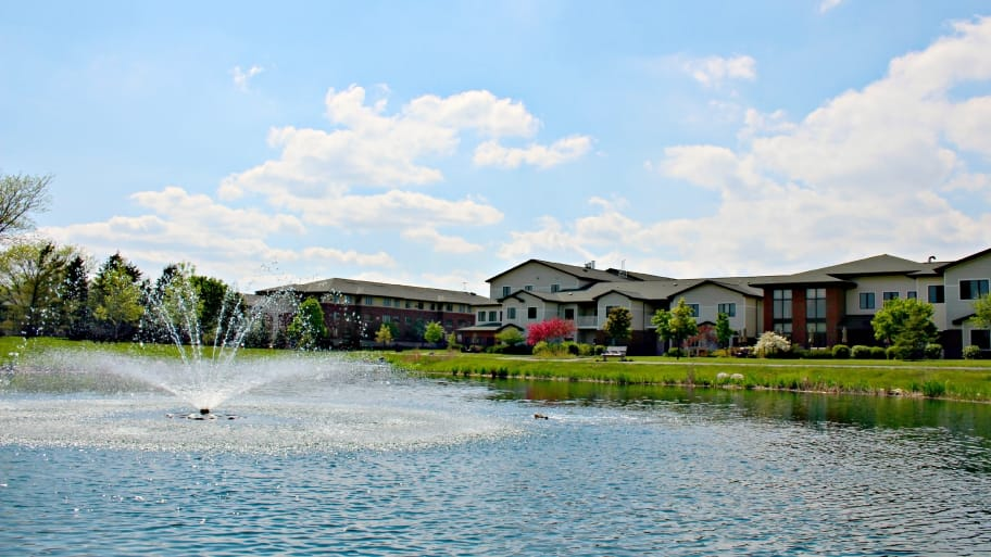 senior community with pond and fountain