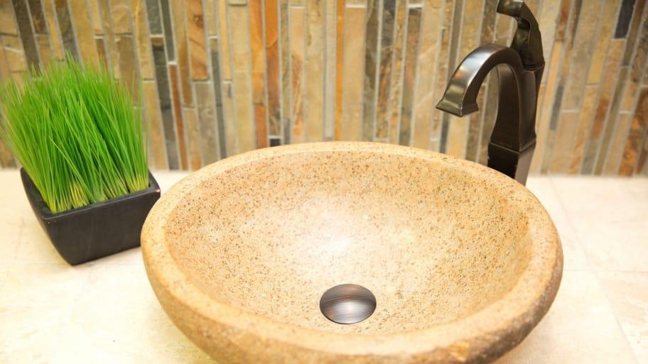 Stylish stone bowl sink