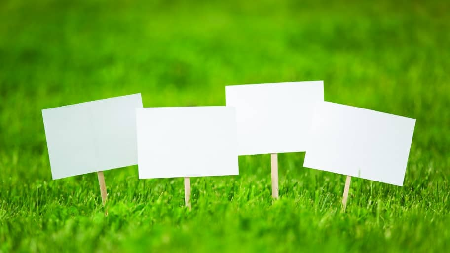 blank signs in a yard