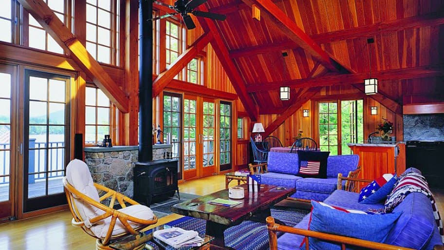 Vaulted ceilings allow exposed beams to be showcased. (Photo courtesy of Lindus Construction)