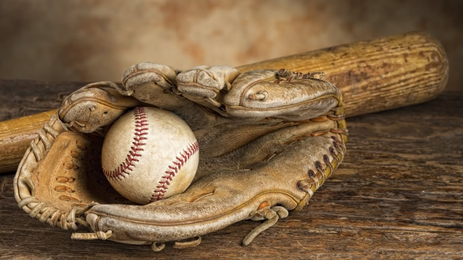vintage baseball glove, ball and bat