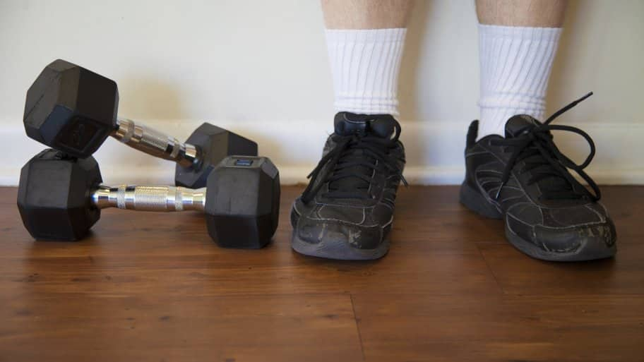 weights and tennis shoes