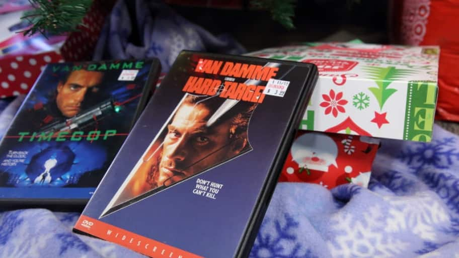 DVDs and gifts under the Christmas tree
