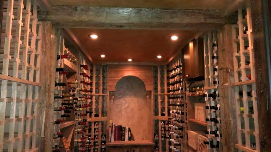 basement wine cellar and large wine collection