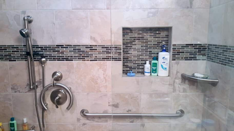 tile shower with grab bars