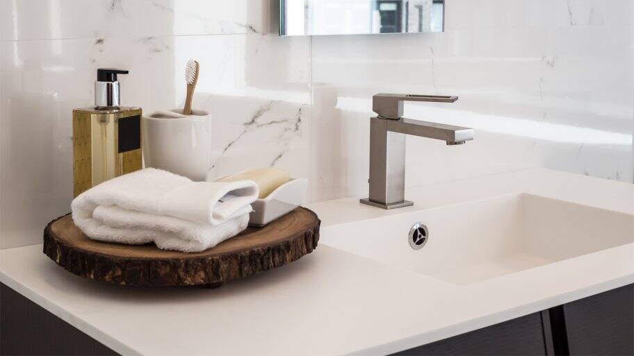 Replated bathroom sink faucet