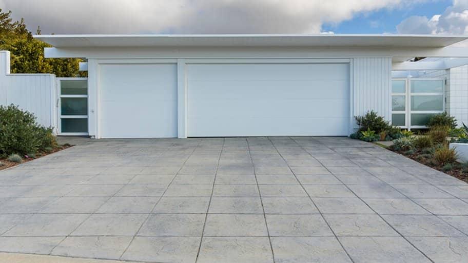Concrete driveway for three car garage