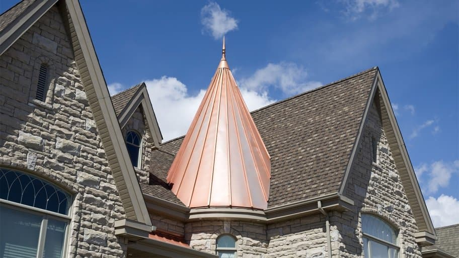 Copper roofing on part of house