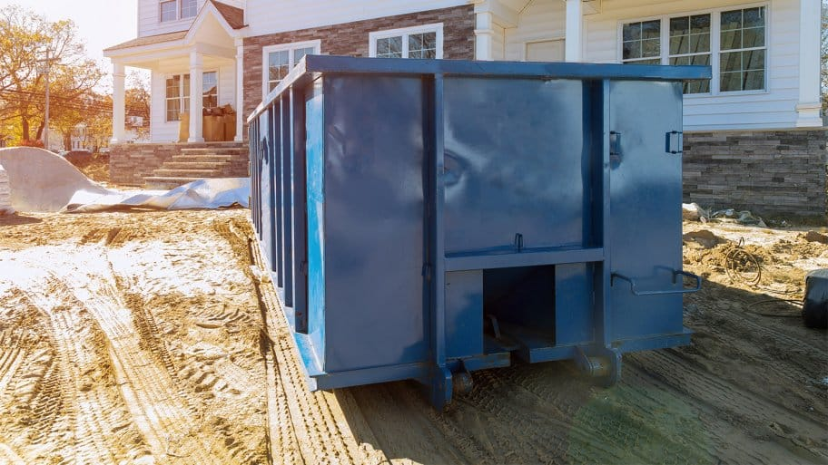 Dumpster outside of new home build