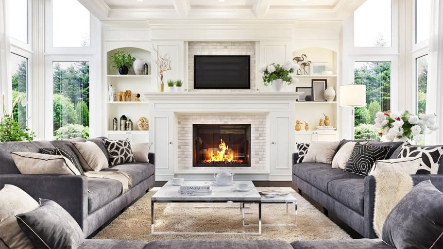 Fireplace burning in a modern living room