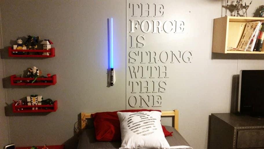 Star wars bedroom with lightsaber wall light