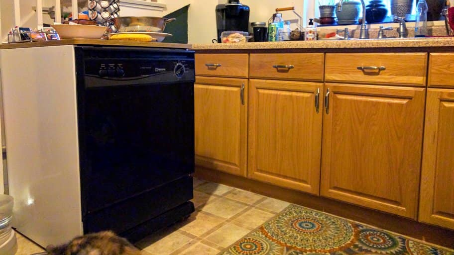 Maytag portable dishwasher in the kitchen of a 1905 American Foursquare home in Kansas City, Missouri