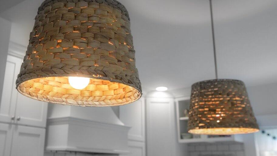 Kitchen pendant lights with basket shades
