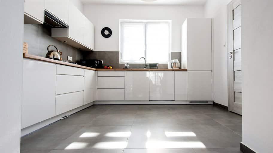 Flooring in a modern minimalist kitchen