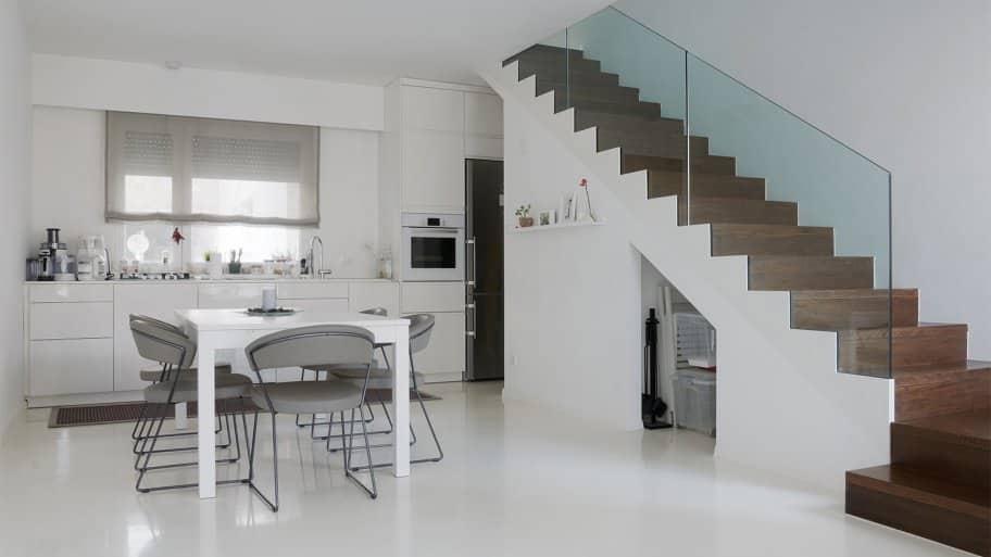 Modern kitchen with epoxy floor