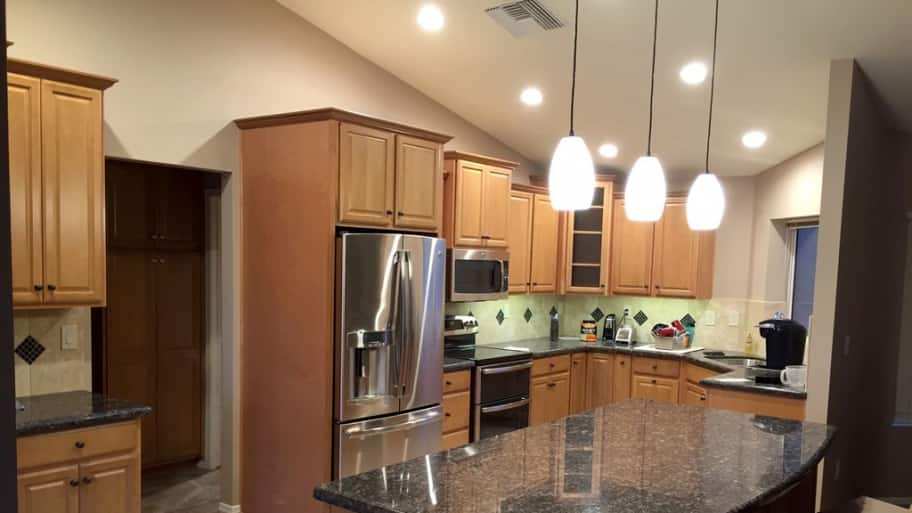 LED pendant and cabinet lights in kitchen