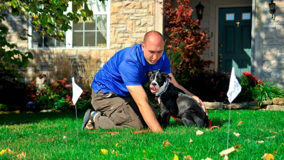 Lance's Hidden Fencing owner Lance Sinkowski trains Jake, a pit bull mix, to avoid the boundaries created by an invisible fence his highly rated company installed. (Photo Bob Vincent)