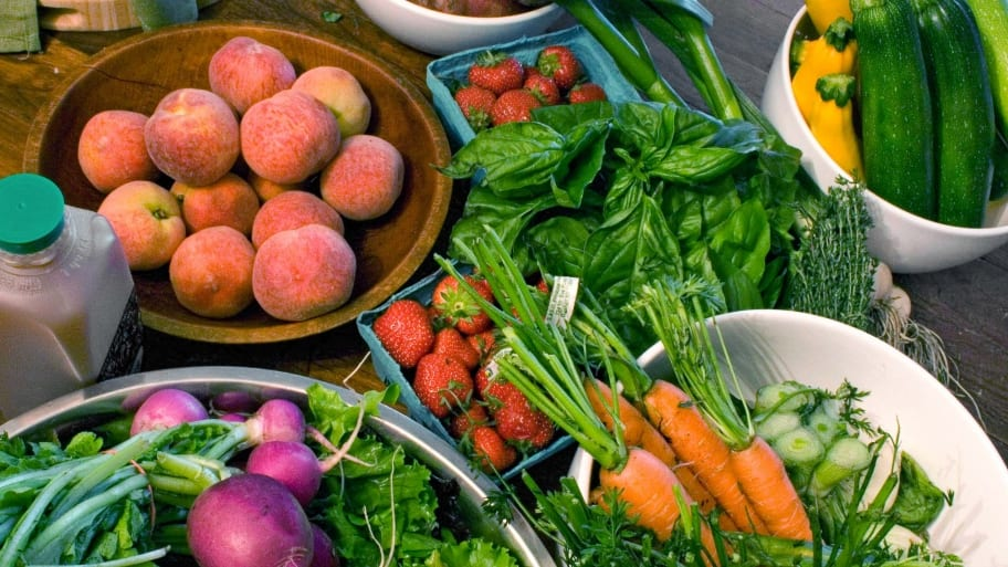 fruits and vegetables on counter