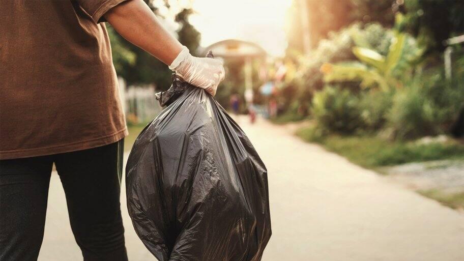 Man removing waste in trash back