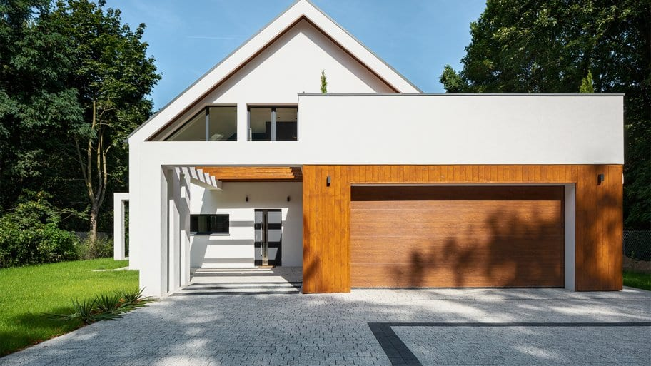 Modern home with a two car garage