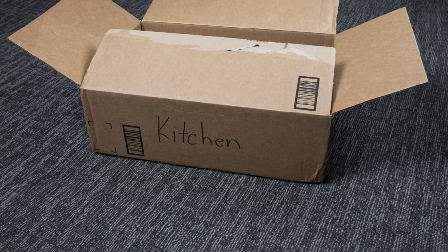 cardboard moving box for kitchen supplies