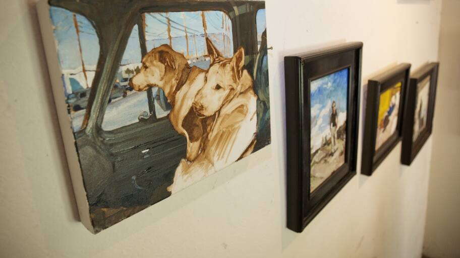 painting canvas art hanging on wall with dogs