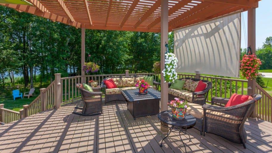 Pergola on a backyard patio