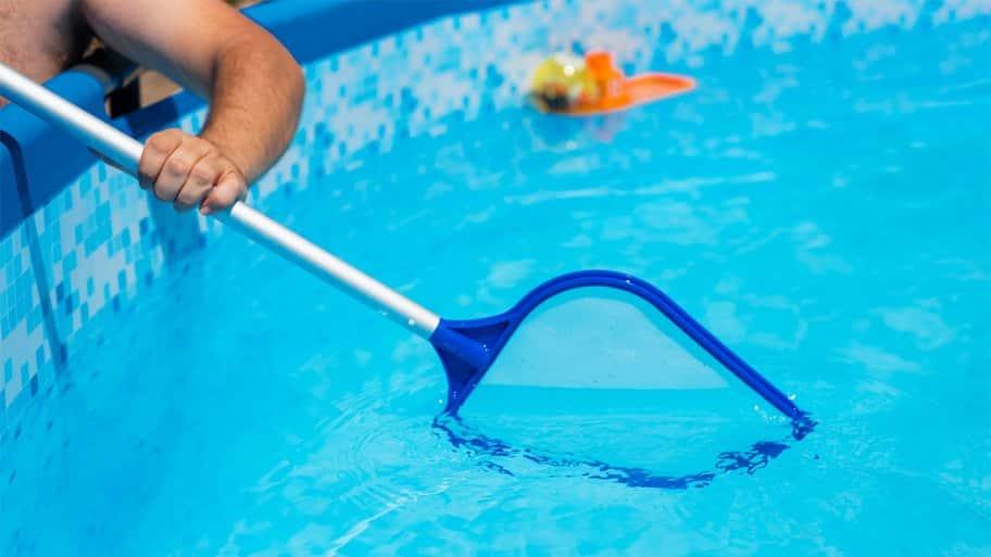Pool being skimmed