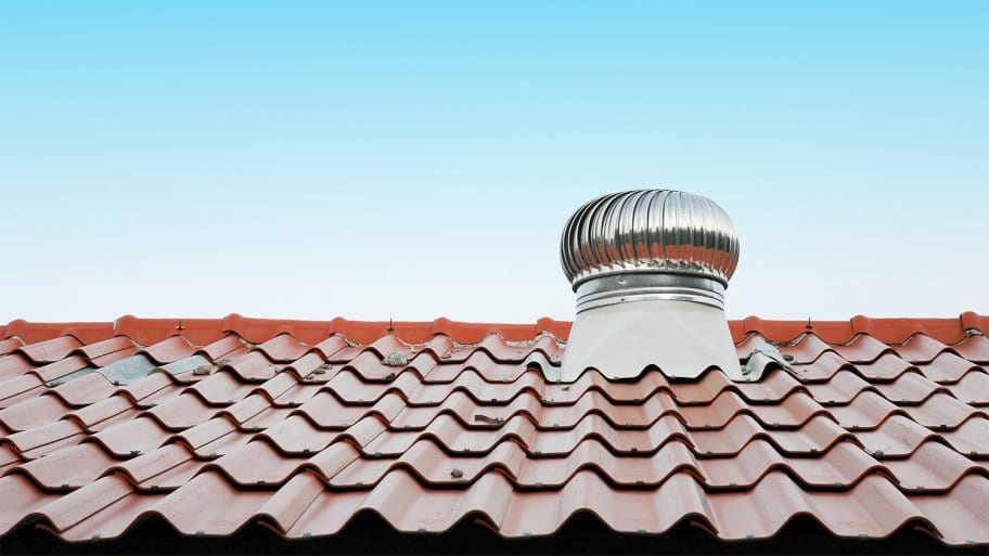 Roof vent on a red roof