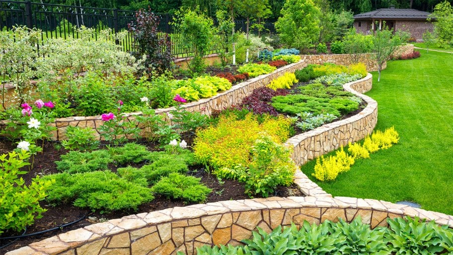 Home garden with stone landscaping