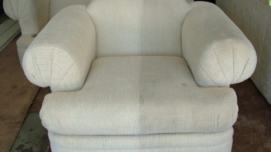 white chair before and after upholstery cleaning
