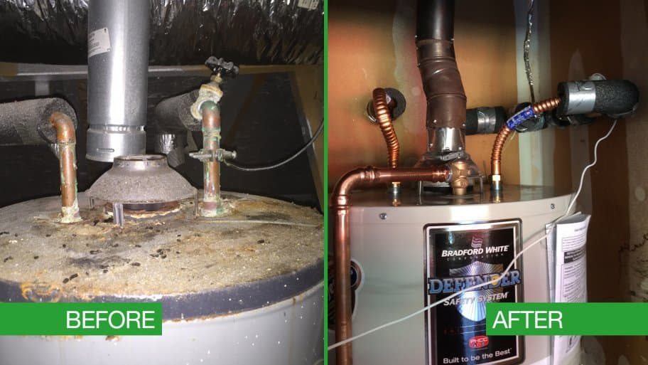 Water heater piping before and after