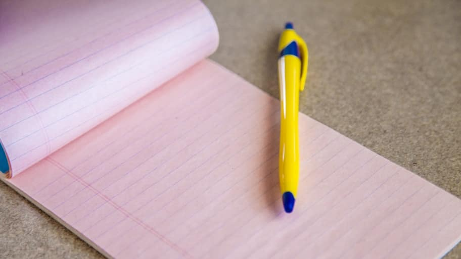 Pad of paper and a pen.