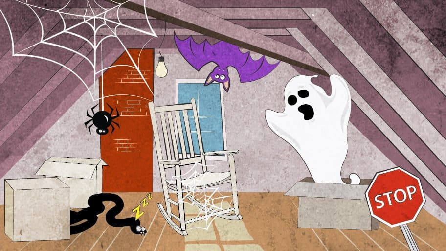 creepy attic with ghost, bat and spider