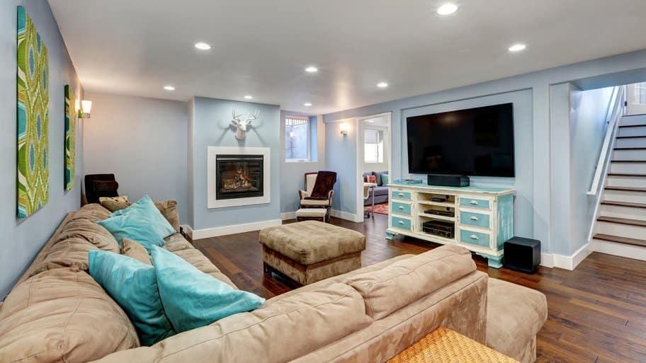 Basement living room interior
