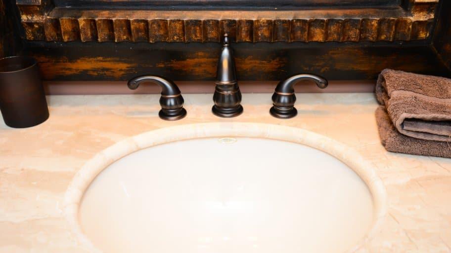 bathroom sink countertop brushed bronze faucet