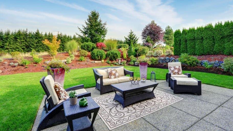 Beautifully landscaped backyard living space
