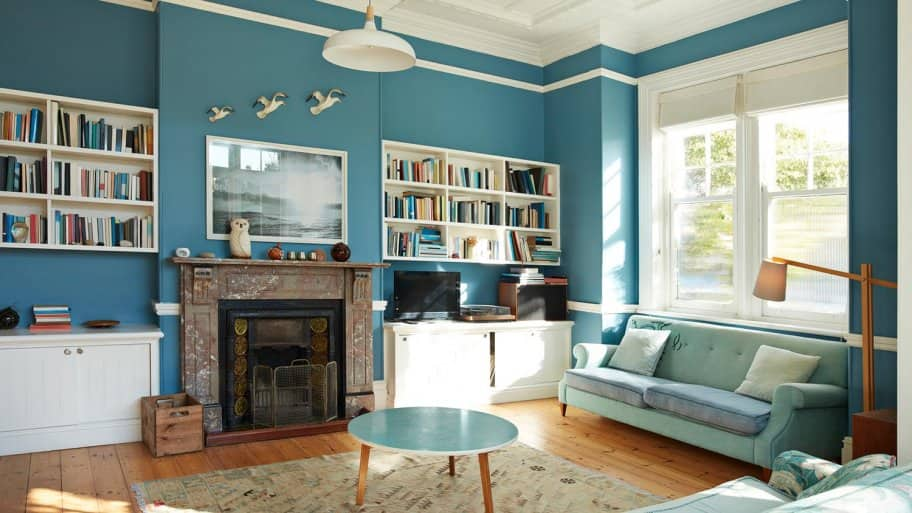 Beautiful blue paint color in library