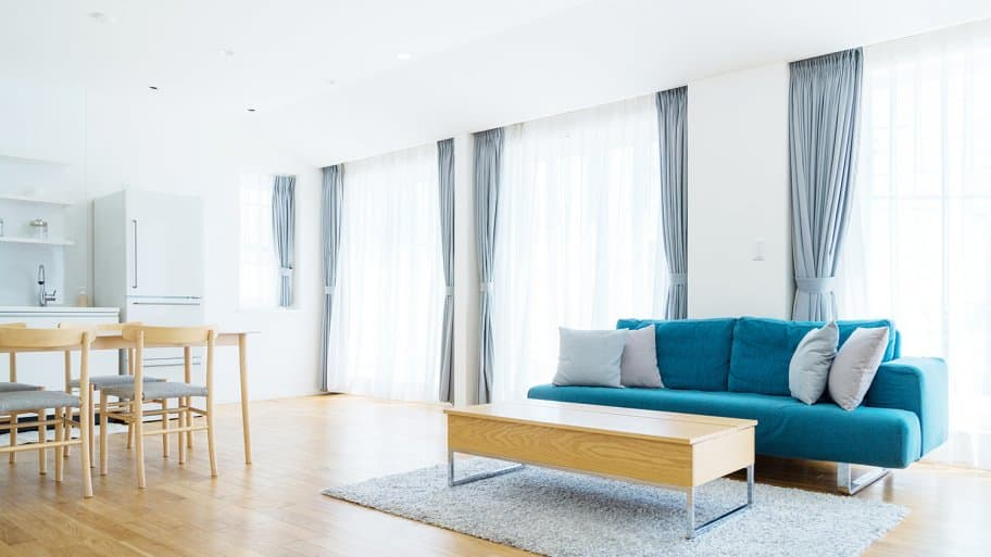 Blue curtains in apartment