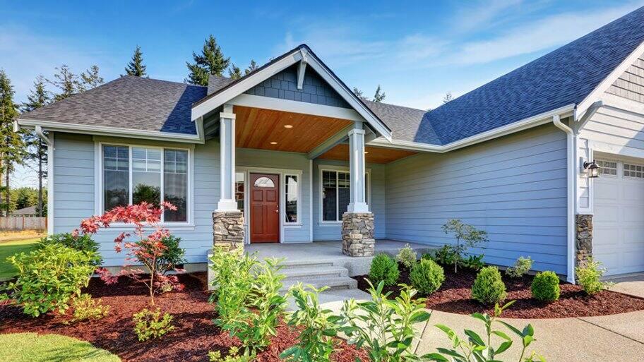 Portico entrance on a suburban home
