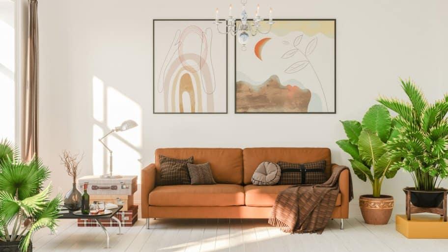 A boho living room on a sunny day