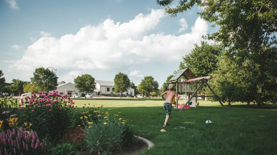 young boy in grassy backyard with play set in background